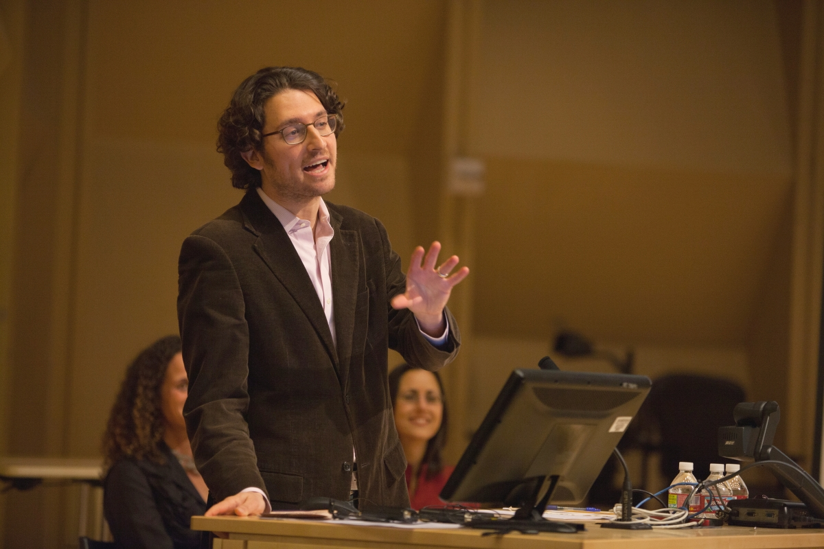 Prof. Devin Naar introduces the program at Seattle's 3rd annual International Ladino Day celebration, December 2015. Photo credit: Meryl Schenker Photography.