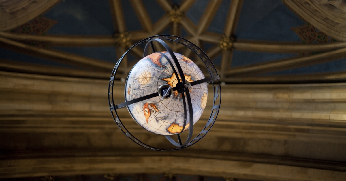 Globe in Suzzalo Library. Photo by Katherine Turner.