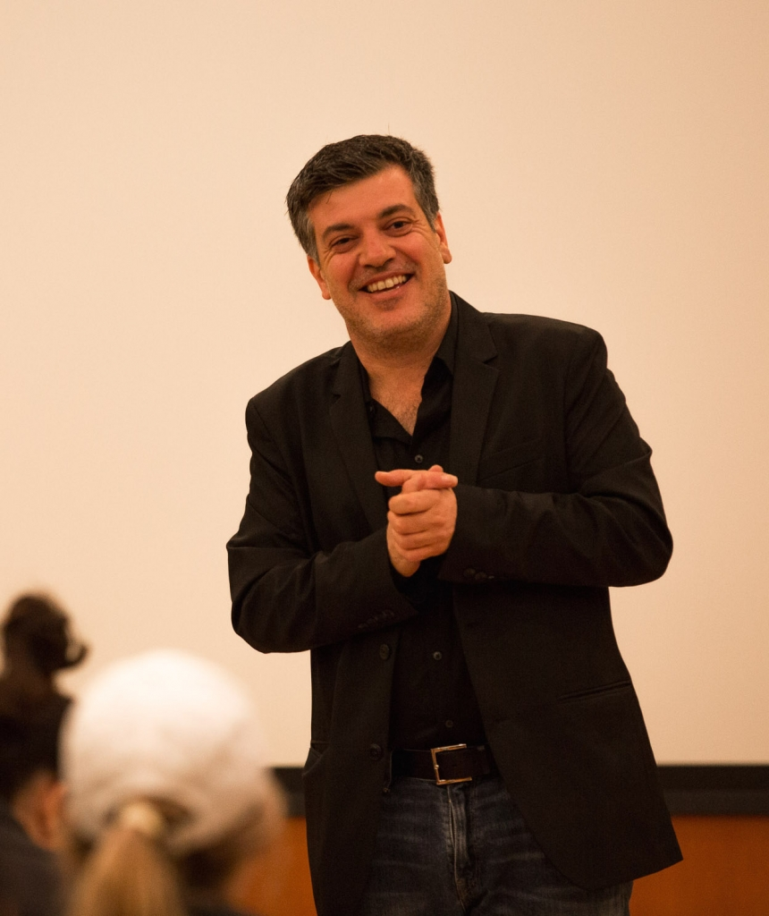 Author Sayed Kashua addressed the student audience after a film screening in Seattle, October 2015.