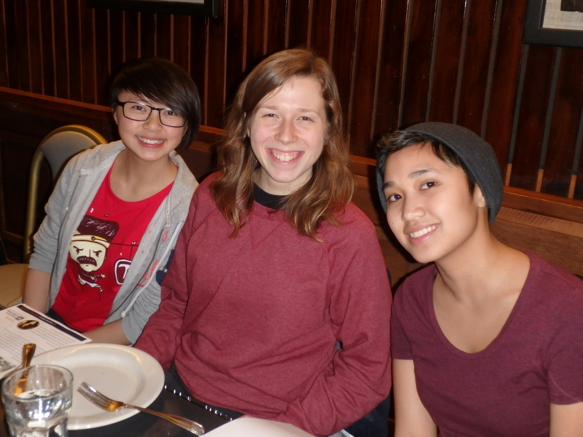 Student at a Jewish Studies Feasting with Faculty event.