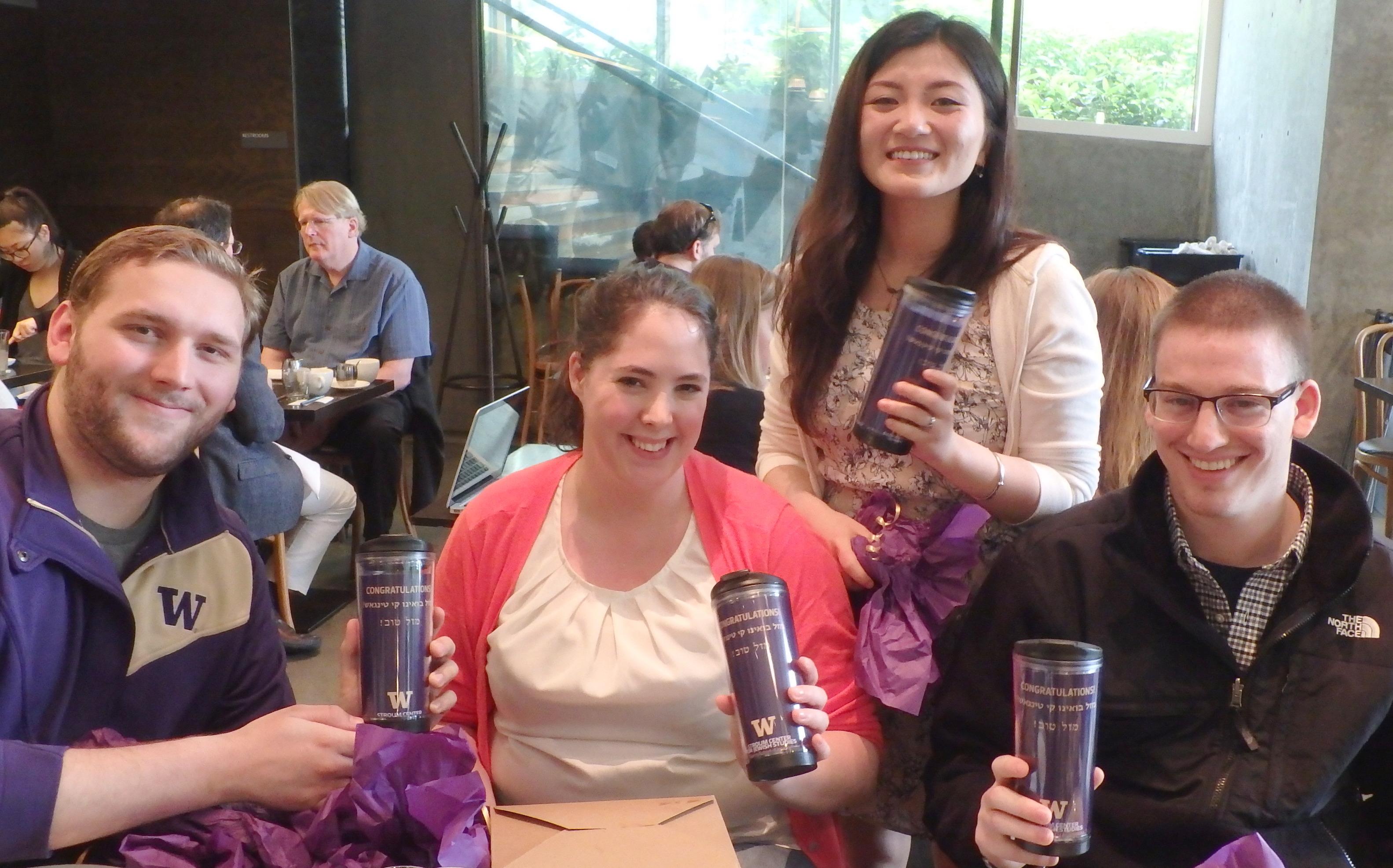 Jewish Studies majors at a lunch celebration, June 2015. From left: Chase Landrey, Katy Stoner, Dawn (Hui) Yang, and Josh Etsekson.