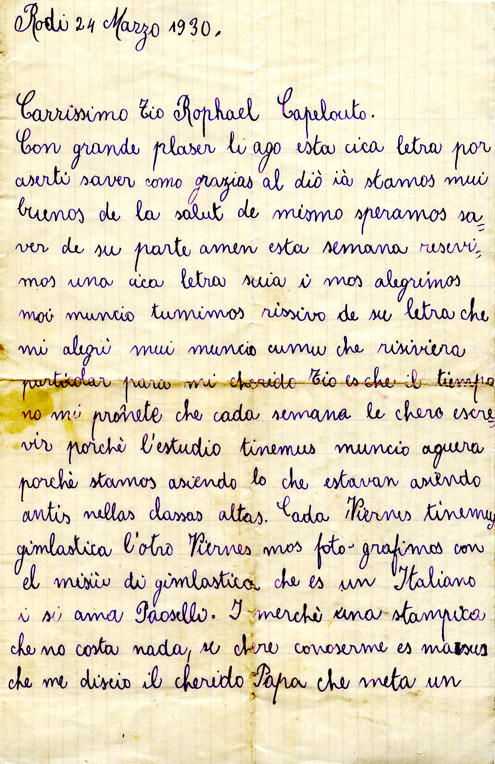 A Ladino letter written by Claire Barkey on the island of Rhodes to her uncle Raphael Capeluto in Seattle. Dated March 24, 1930.