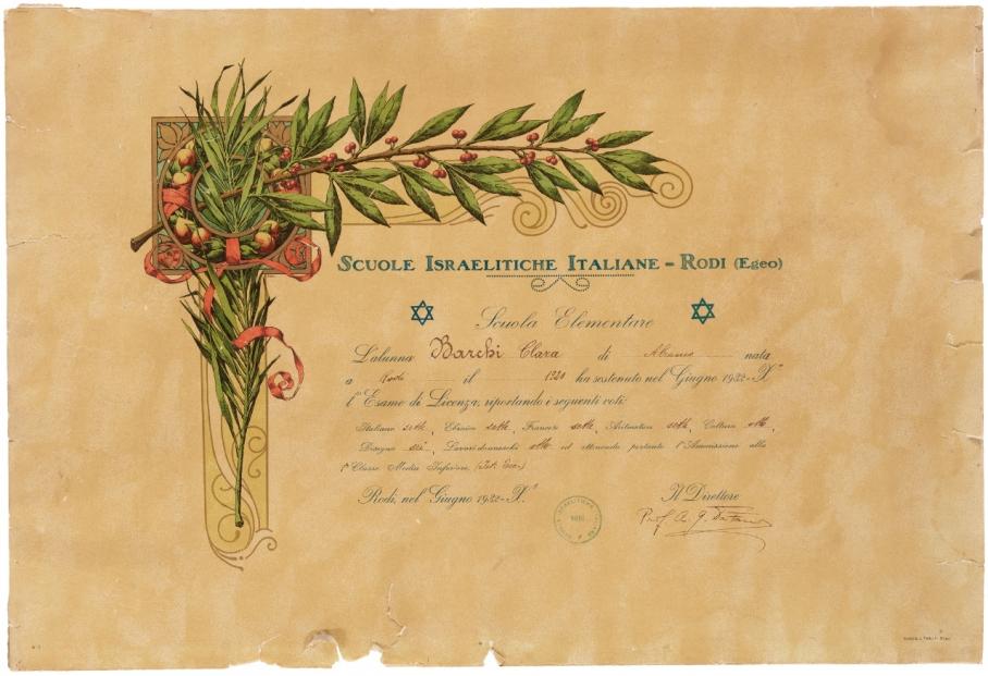 Claire Barkey's elementary school graduation certificate from the Scuole Israelitiche Italiane, Rhodes, 1934.
