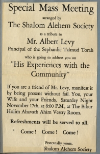 Publicity for a lecture by Albert Levy, principal of Talmud Torah