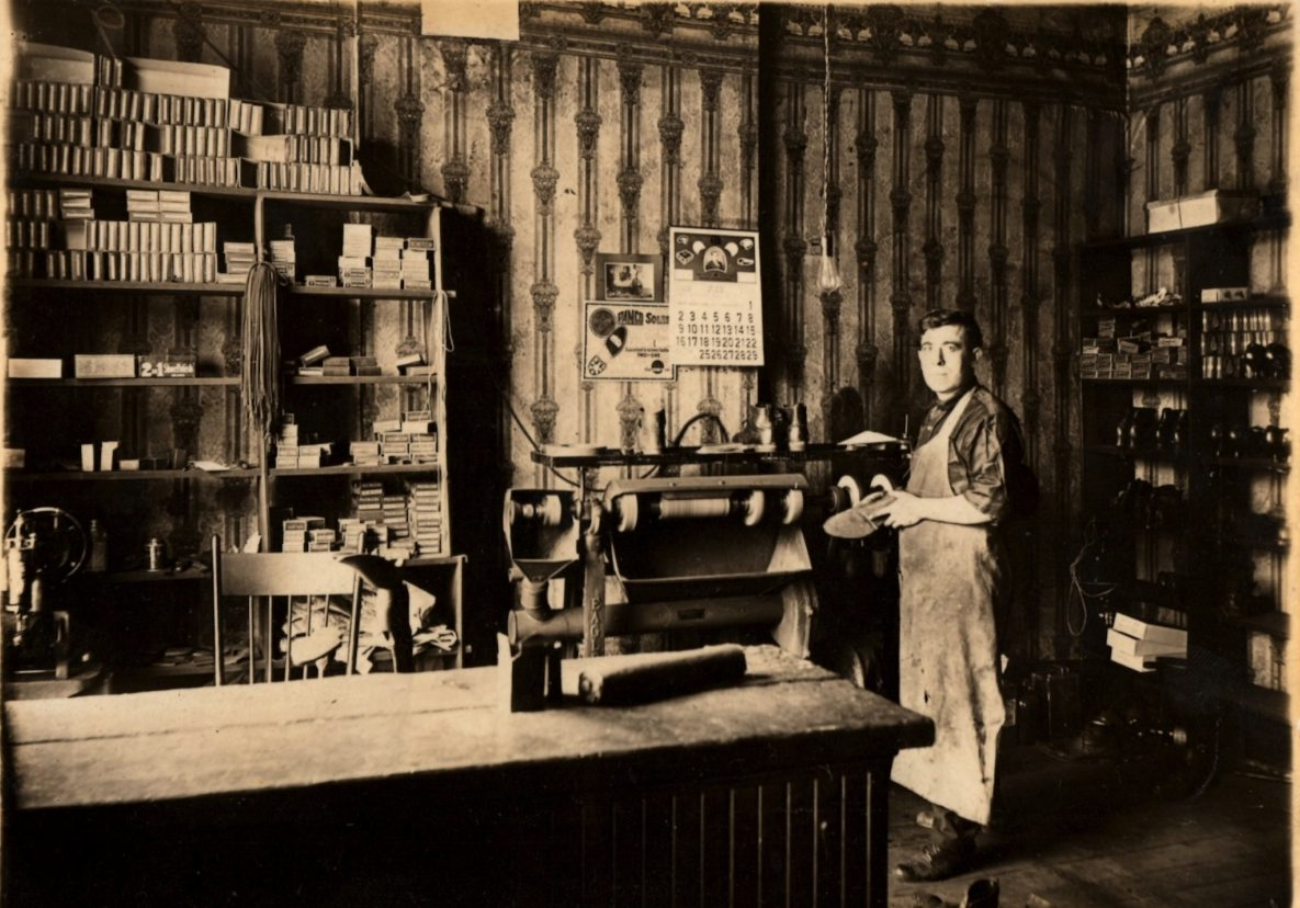 The author's great-grandfather, Samuel Barr, pictured in his cobbler shop in Chicago, 1922. Image via private family collection.