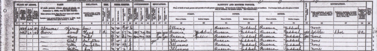 "The 1920 Cook County, Illinois census record includes the author's family. His great-grandparents' birthplace is listed as Russia and their ""mother tongue"" is listed as Yiddish."