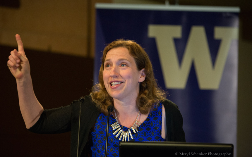 Dara Horn spoke about S.Y. Agnon, Hebrew in America, and reading herself in translation at her Stroum Lecture. University of Washington, May 23rd, 2016. Photo by Meryl Schenker.