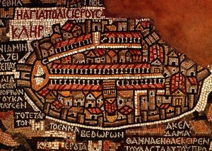 Ancient mosaic map of Jerusalem