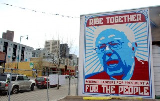 Bernie Sanders in a mural by Greg Deal in Denver. Photo by Lindsey Bartlett.