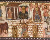 Mosaic depicting Herod's Temple, with people and livestock, a priest, and a central menorah