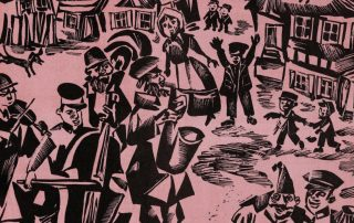 Wood block print on pink paper shows a bustling shtetl scene with musicians and children in the streets