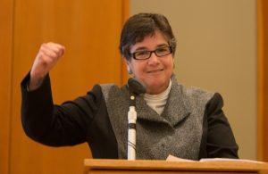 UW President Ana Mari Cauce reading the mayor's proclamation recognizing International Ladino Day in Seattle, 2013.
