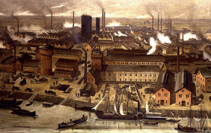 Painting of factories in German city