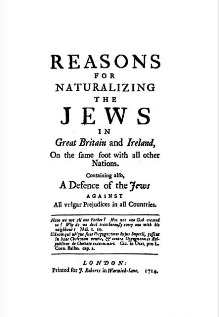 Cover page for Reasons for Naturalizing the Jews in Great Britain and Ireland, 1714.