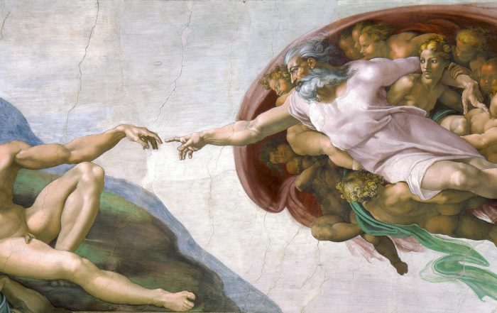 "God and man reach out to touch one another in Michelangelo's painting ""The Creation of Adam"""