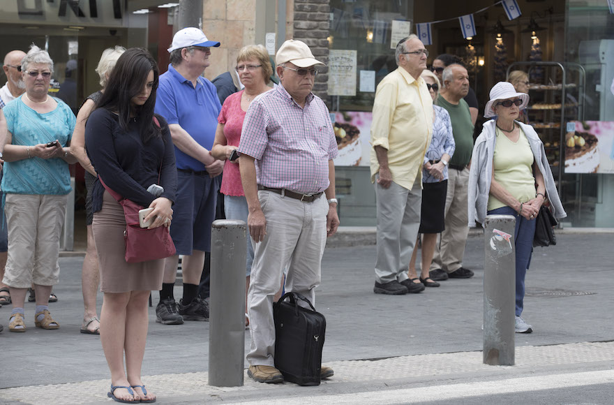 Israelis stand at attention on Memorial Day