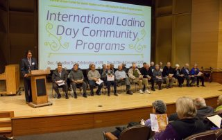 Devin Naar, chair of the UW Sephardic Studies Program, left, with members of Los Ladineros at the 2014 Ladino Day event. Photo by Meryl Schenker