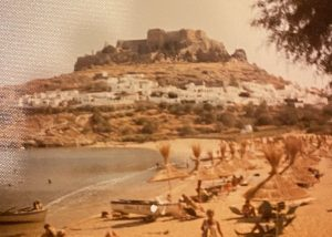 Historic color photograph showing the city of Lindos on the Island of Rhodes