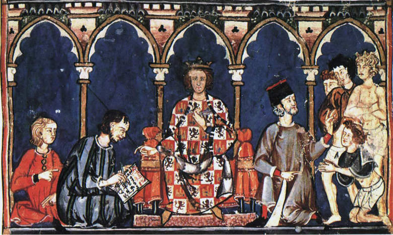 Medieval picture of Alfonso X, sitting on a throne in royal robes, surrounded by courtiers, including a scribe at work