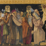 A mural depicting a procession of Jewish men in medieval garb, bearing Torah scrolls, heading towards hope
