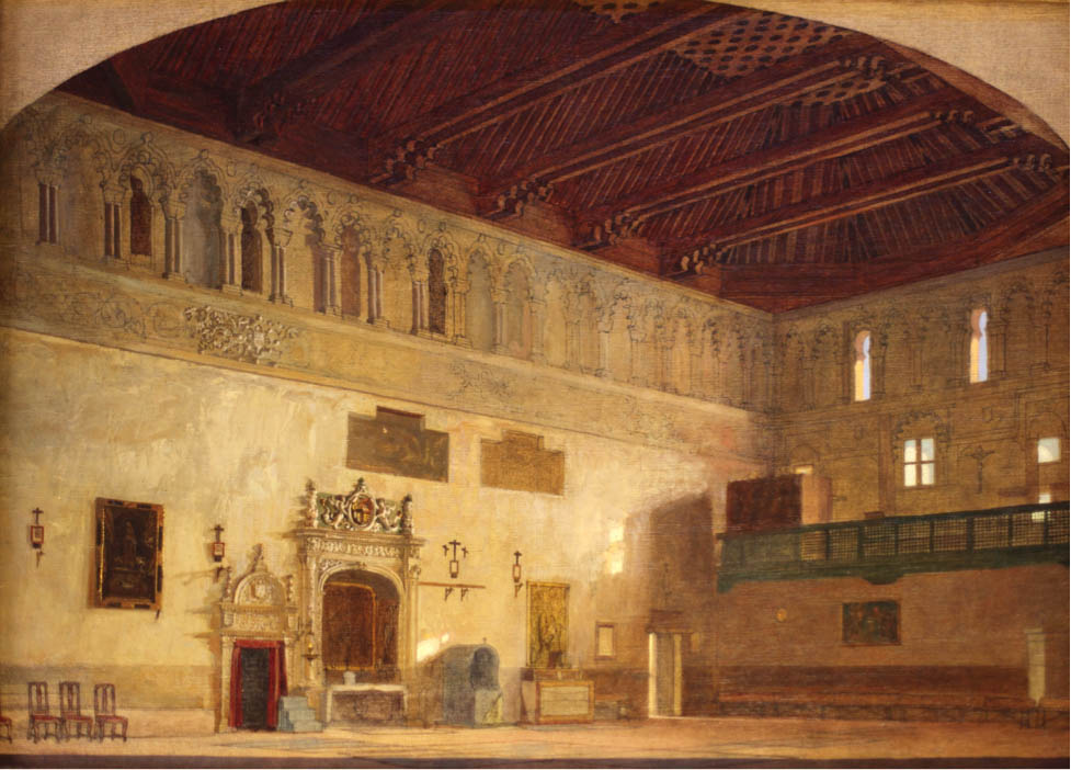 A watercolor illustration of the expansive interior of the synagogue, which has a grand arched ceiling and is ringed by columns