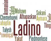 A collage of the names of endangered languages, including Ladino, Mohave, Yakut, and Athapaskan