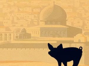 Movie poster for the documentary film featuring a cartoon image of a big and the skyline of Jerusalem