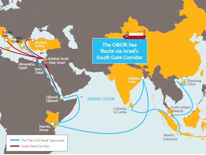 Map shows a route connecting China to India, Africa and the Mediterranean via Israel by sea