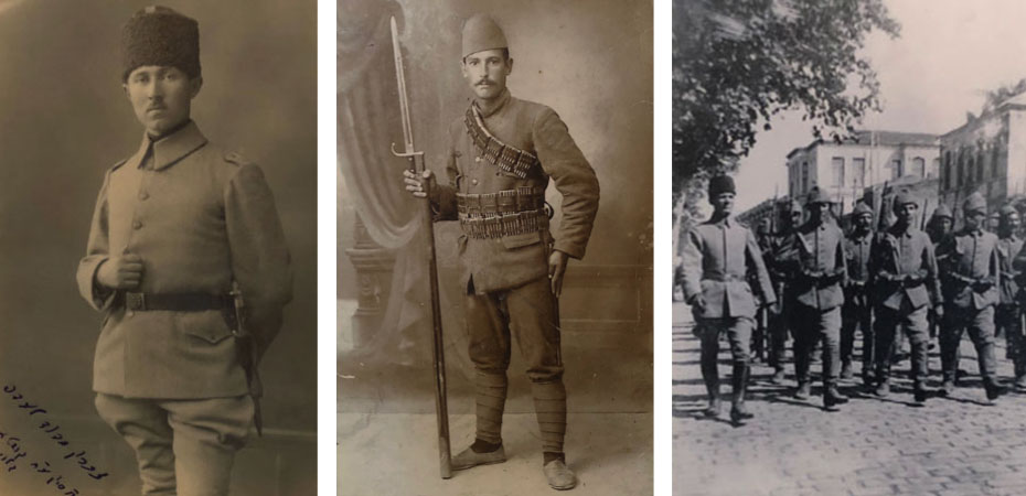 Three black-and-white photographs of Ottoman soldiers in uniform wearing fez-style caps