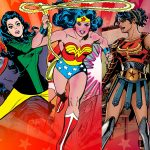 Collage of different versions of Wonder Woman since her creation
