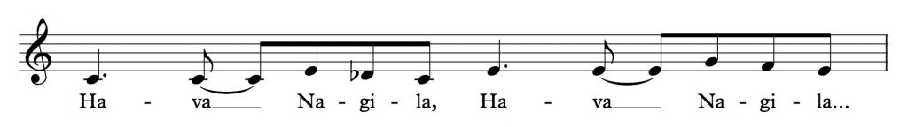"Musical notation showing the first few phrases of ""Hava Nagila"""