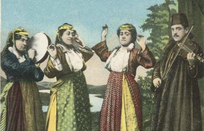 Postcard showing late-Ottoman-era women in contemporary garb dancing as musicians play