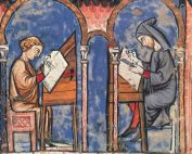 In a medieval illustration, robed men sit at desks writing and painting on parchment