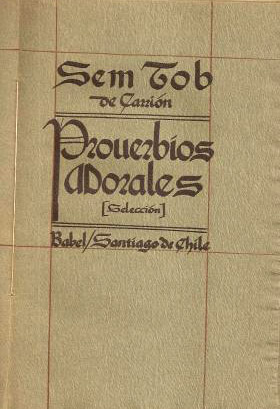 "Cover of the ""Proverbios morales"" book, made to look like medieval-style calligraphy on old paper"