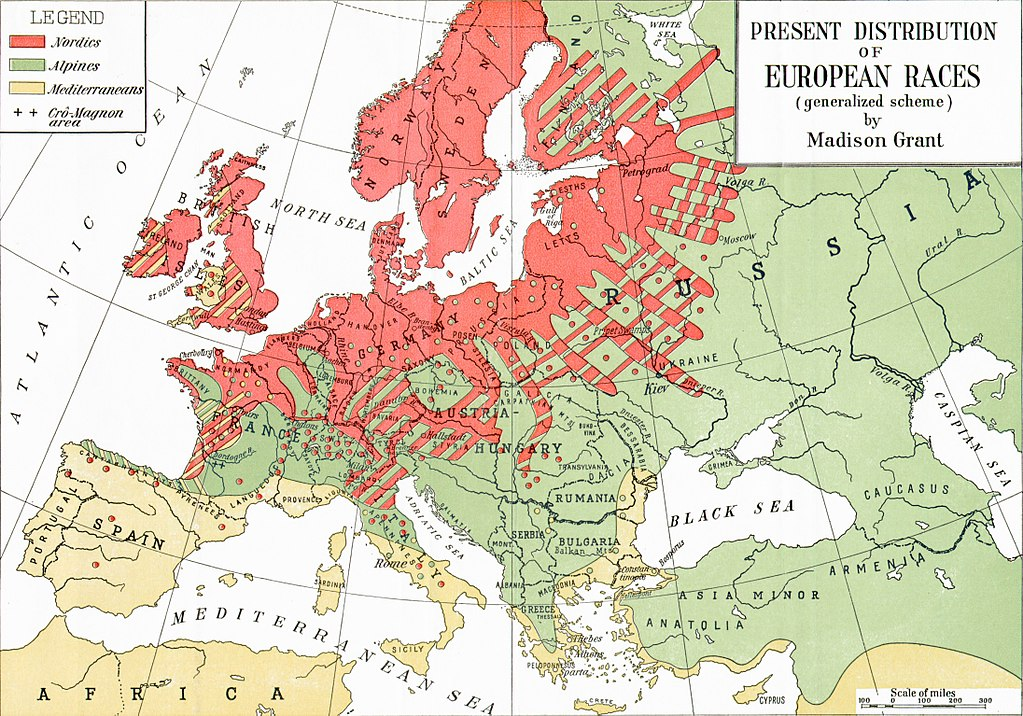 "Map of Europe shows a red swath of ""Nordics"" distributed throughout northern Europe, a green swath of ""Alpines"" in Russia, Hungary, Austria, France and Italy, and a yellow swath of ""Mediterraneans"" in Spain, southern Italy and north Africa"