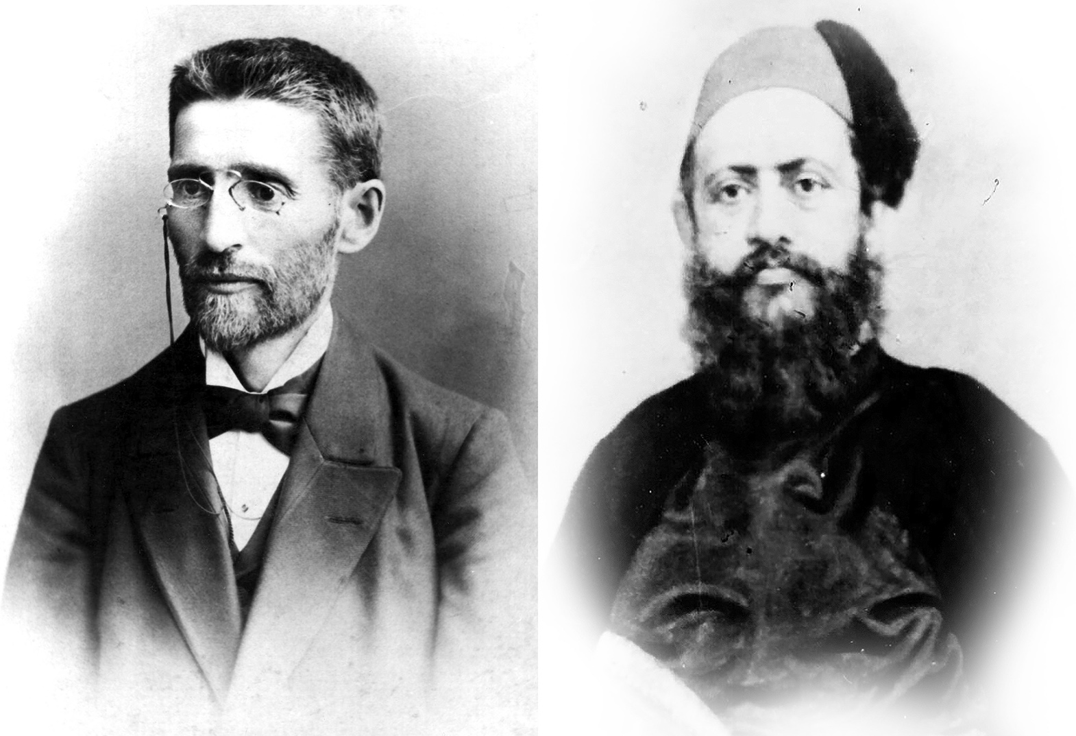 A pair of black-and-white portraits of Ben Yehuda, wearing a tie, overcoat and glasses, and Hataria wearing a fez in a traditional overcoat