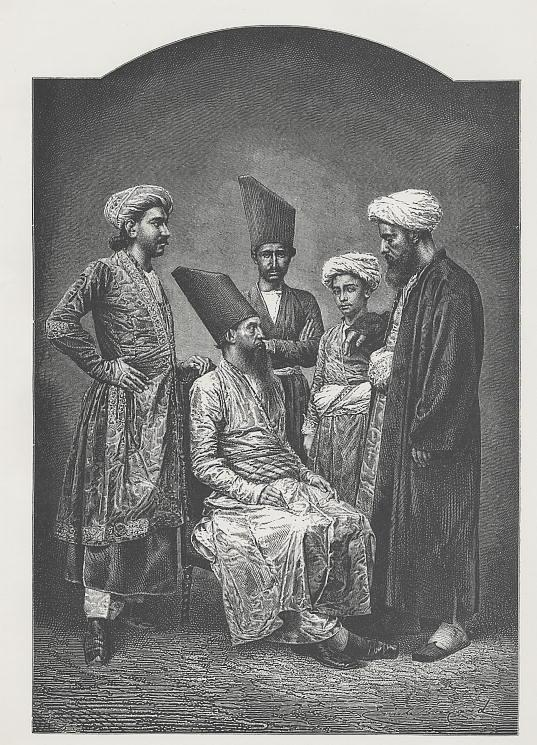 19th century-style wood engraving of men standing for a portrait, wearing turbans, long fez-style hats, wearing Persian-style robes