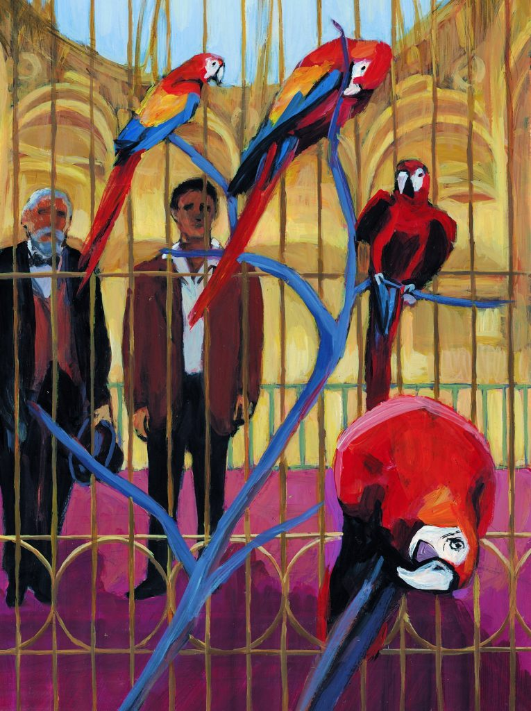 Oil painting showing two men watching brightly colored parrots perched in a large cage