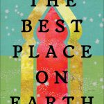 "Cover of ""The Best Place on Earth,"" showing an abstract representation of the entryway to a Middle Eastern building in red and gold, on a gold-flecked green background"