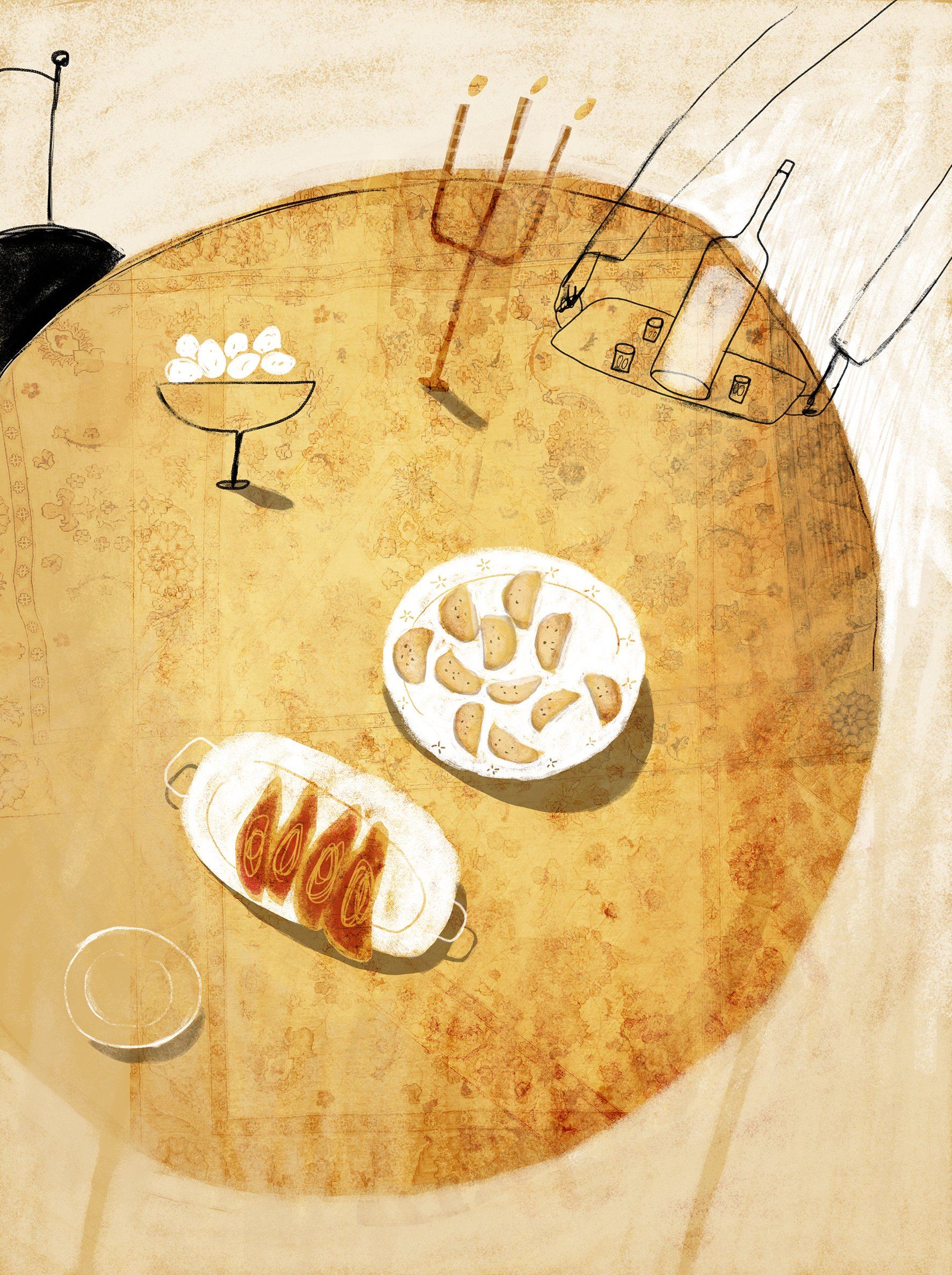 Stylized illustration of showing a large table with plates of borekas, meat, a bowl of eggs, a bottle of wine and a menorah