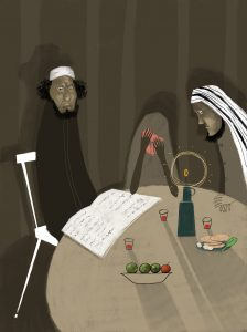 A stylized illustration shows a somber-looking man in a kippah, a weeping woman, and a man in a Middle Eastern head covering seated around a table with a candle and an open book on it