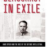 """Book cover showing a red title """"Democracy in Exile"""" above a black-and-white photograph of Hans Speier, with personal identification documents behind"""