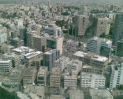 View of Israeli city Ramat Gan from overhead, showing dozens of skyscrapers