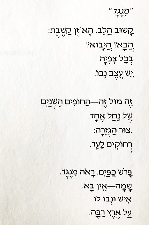 Printed-out page shows the poem in Hebrew print, including marks for vowels