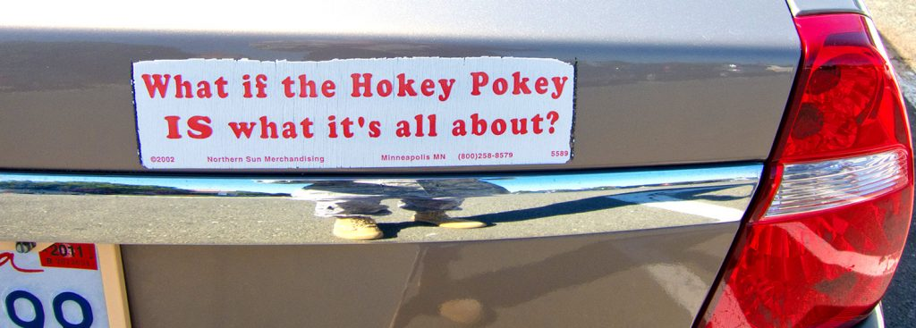 "Bumper sticker reads, ""What if the Hokey Pokey is what it's all about?"""
