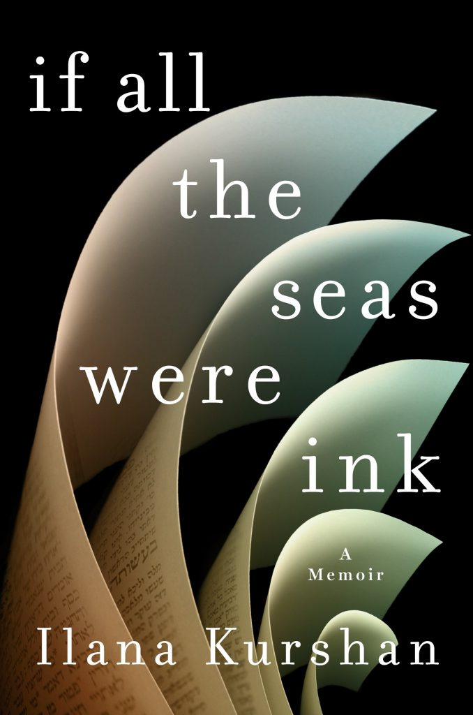 "Cover of the book ""If All the Seas Were Ink,"" showing crisp book pages splayed out like a wave against a black background"
