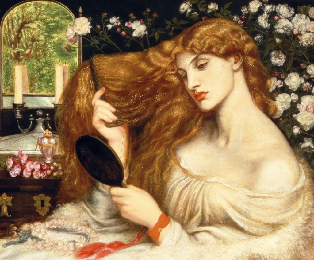 Painting of Lady Lilith combing her long, flaxen hair and gazing into a mirror