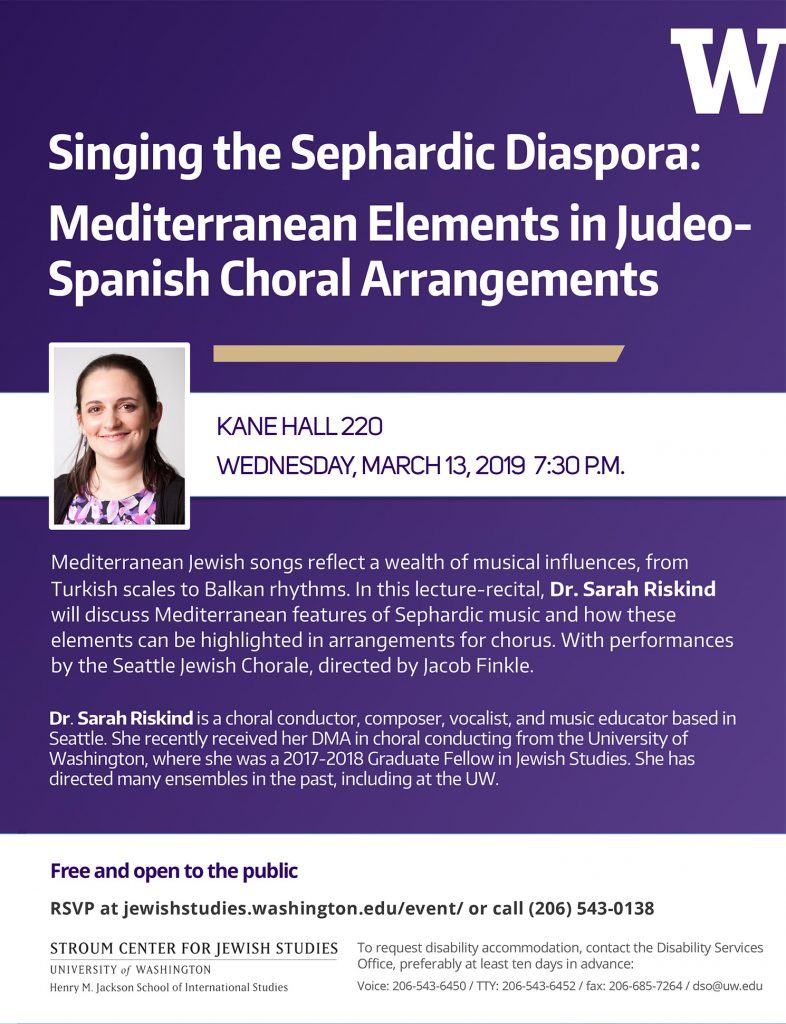 "Poster showing the title, event details, and presenter bio for ""Singing the Sephardic Diaspora"" with Dr. Sarah Riskind"