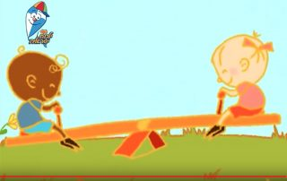 A brightly colored animation shows two simply drawn children, one with pink skin, one with brown skin, sit on a seesaw, smiling