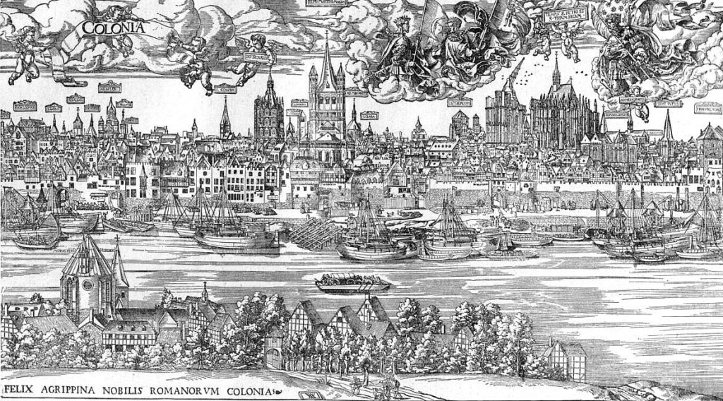 Black-and-white woodcut print show fine details of a dense cityscape alongside a ship-filled river, full of cathedral-like buildings with arched spires